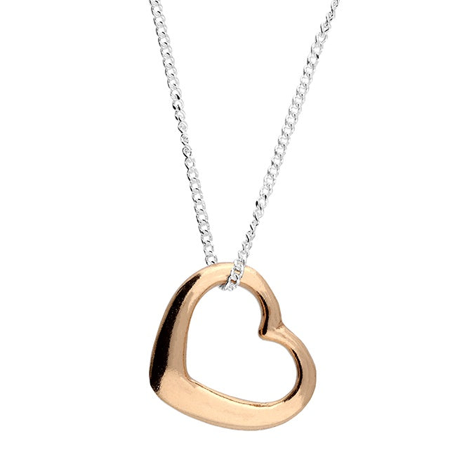 18ct Rose Gold Plated Heart Chain Necklace