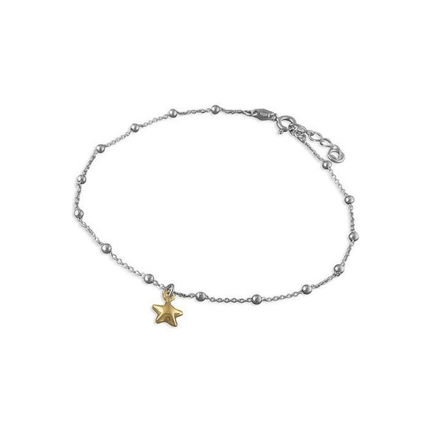 Sterling Silver & 18ct Gold Plated Puffed Star Anklet