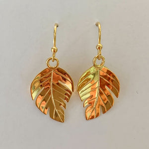 18ct Gold Plated Broad Leaf Drop Earrings