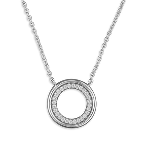Sterling Silver Plain CZ Circle Chain Necklace