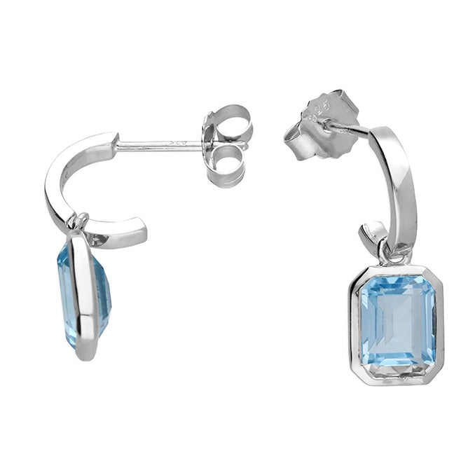 Sterling Silver Blue Topaz Charm Hoop Studs