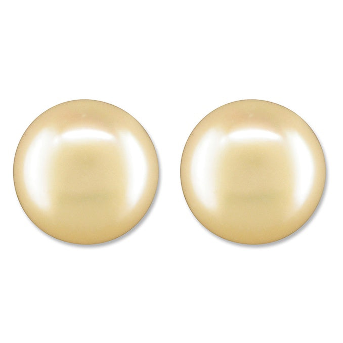 Sterling Silver White Pearl Button Stud
