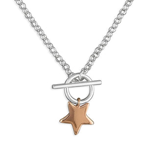 T-bar 18ct Rose Gold Mini Star Necklace