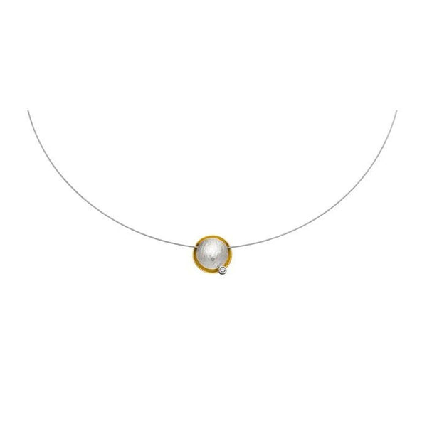 Slim Silver & Gold Necklace with Diamond