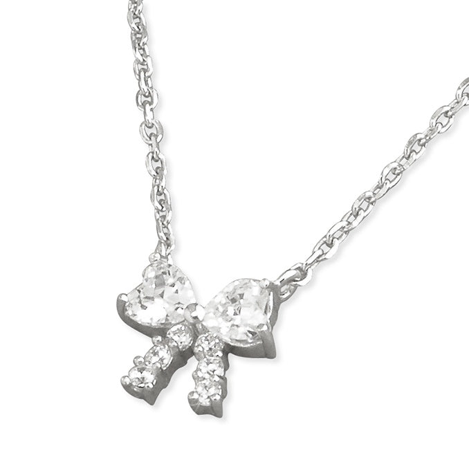 Sterling Silver Small Diamante Bow Necklace