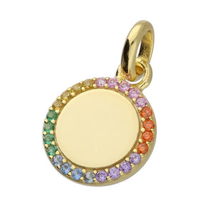 18ct Gold Plated Rainbow Disc Necklace