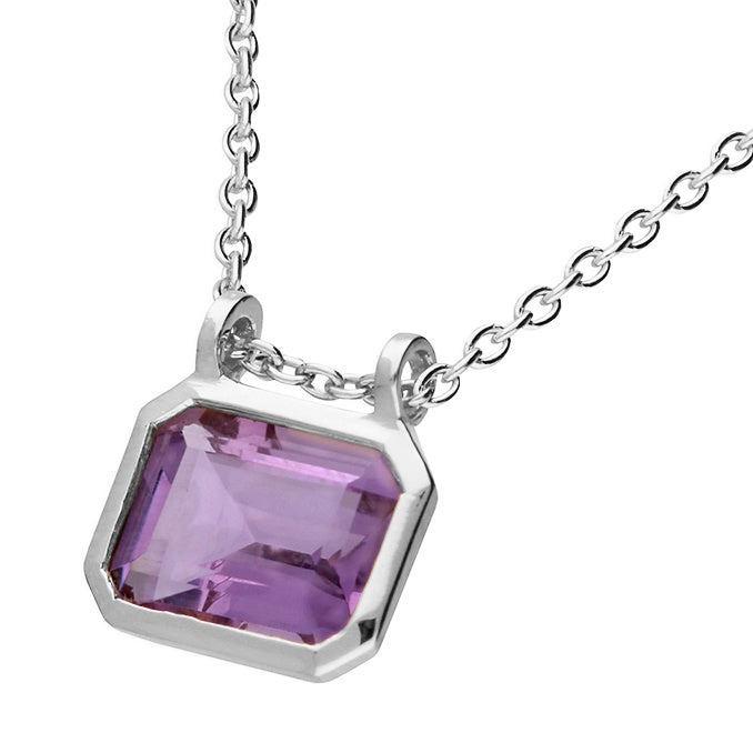 Sterling Silver Amethyst rectangle Necklace