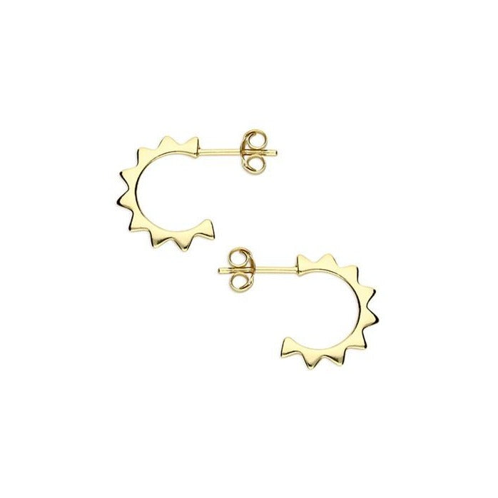 Small 18ct Gold Plated Sun Stud Hoops