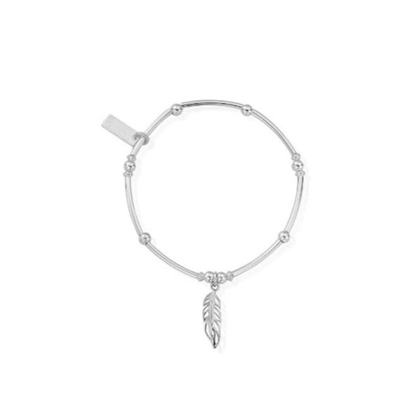 ChloBo Feather Noodle Ball Silver Bracelet