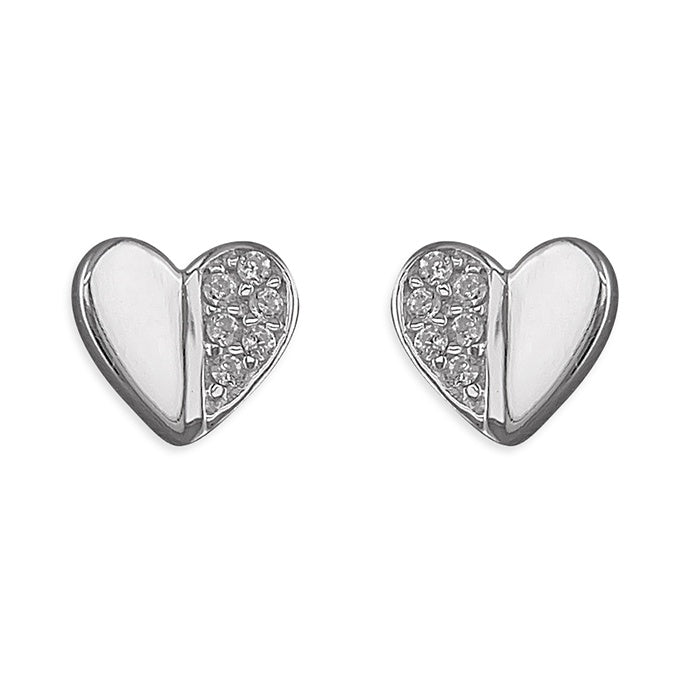Sterling Silver CZ Plain Heart Stud