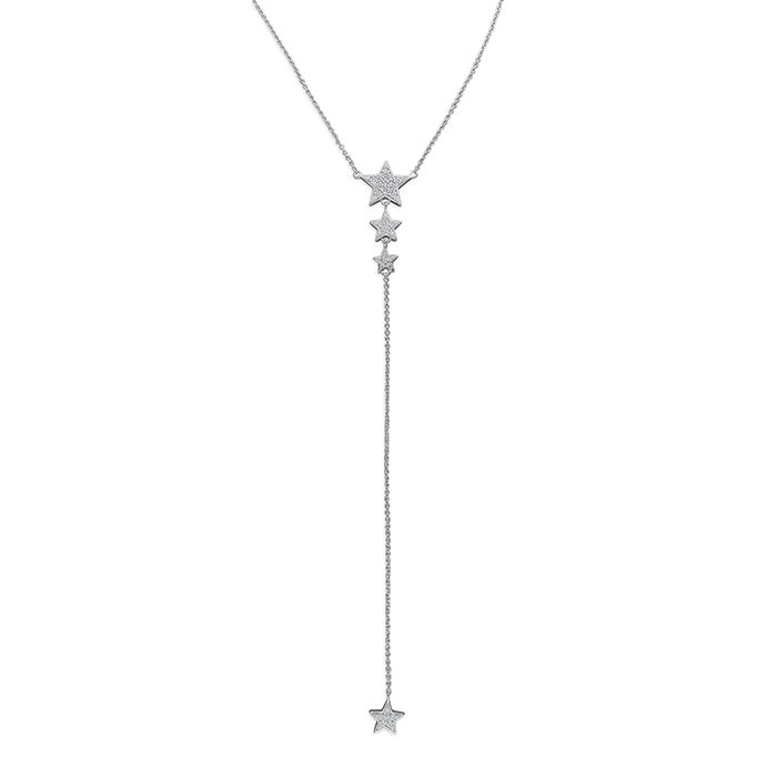 Sterling Silver Graduated CZ Stars Necklace