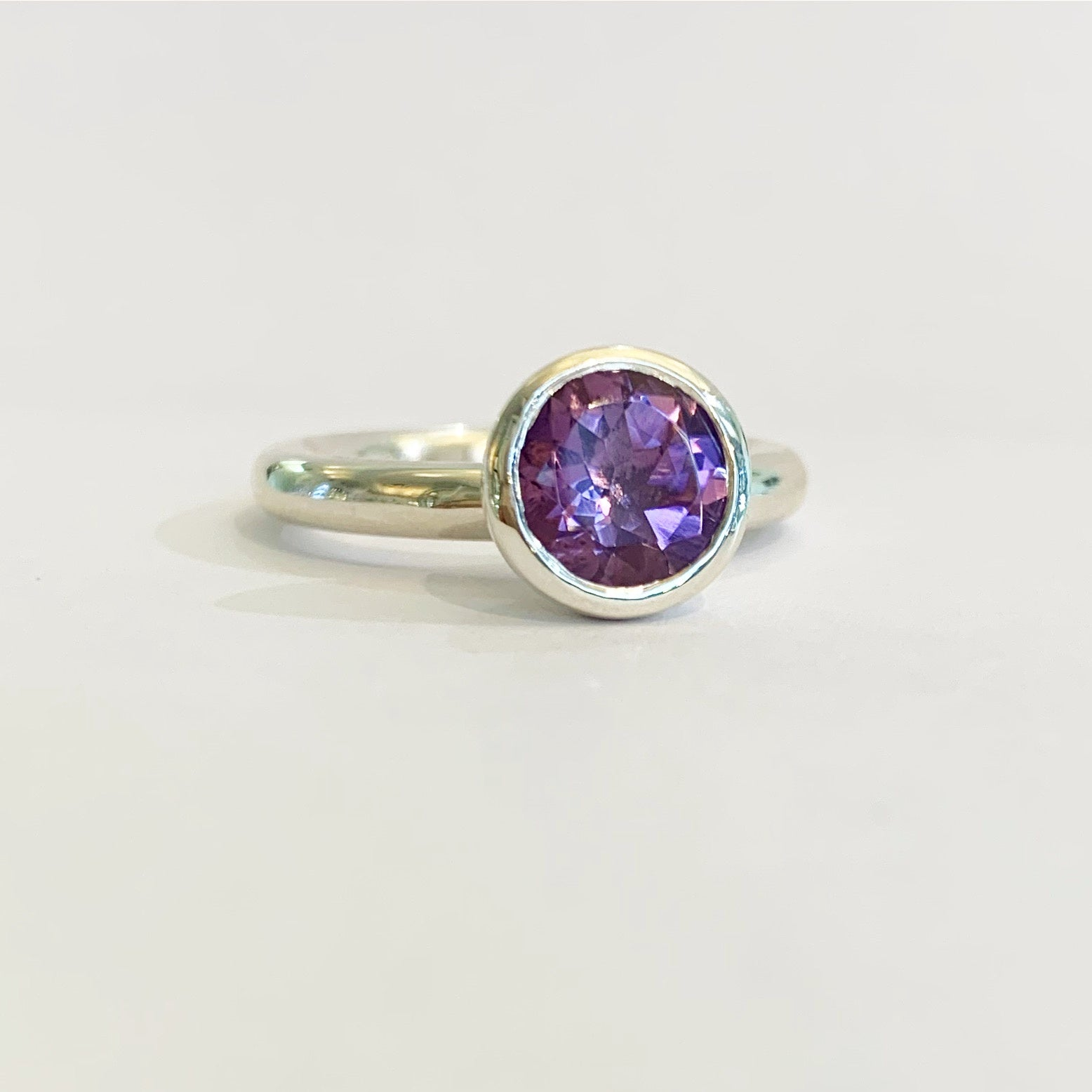 Silver 8mm Purple Amethyst Ring