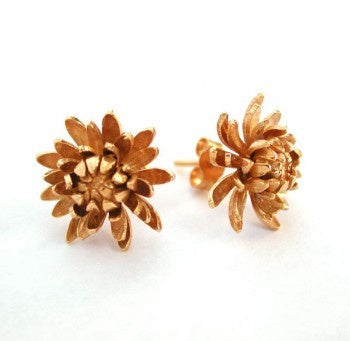 Chrysanthemum Flower Stud Earrings - CYE4/GP