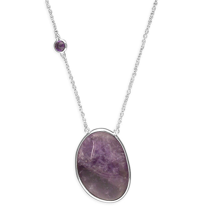 Sterling Silver Oval Amethyst on Chain Necklace