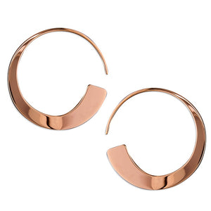18ct Rose Gold Tapered Pull Through Hoops