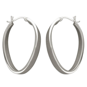Sterling Silver Flat Oval Hinged Hoops