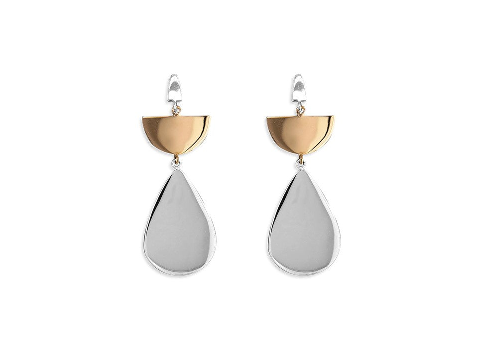 Sterling silver & 18ct Rose-Gold Plated Pear Drop Earrings