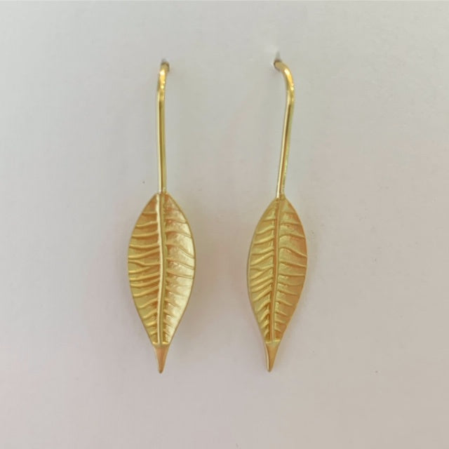 Thin Leaf Hook-in Earrings