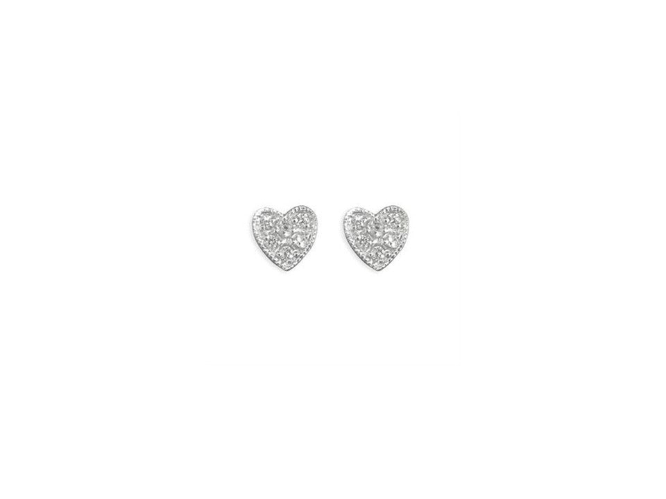 Sterling Silver Diamante Heart Studs