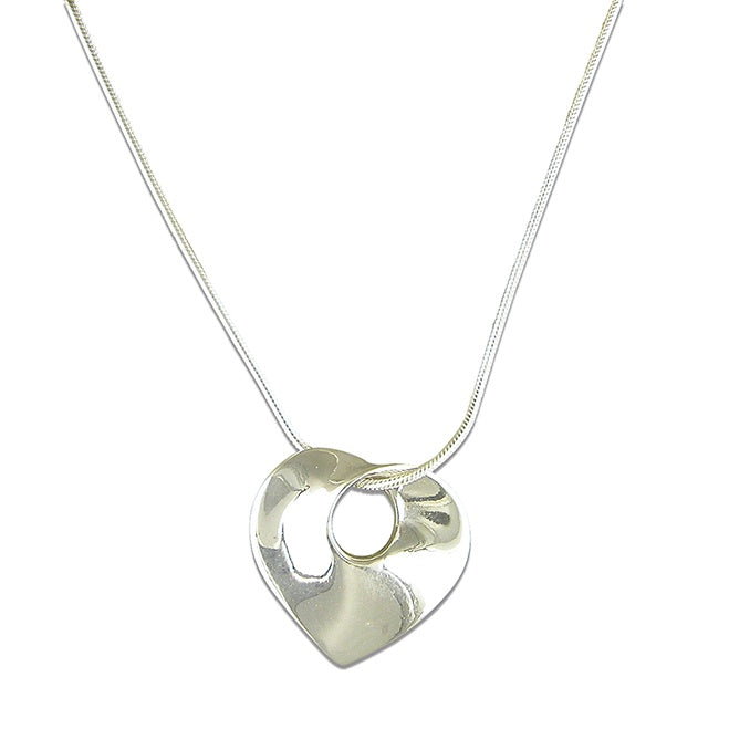Sterling Silver Mobius Twist Heart Necklace