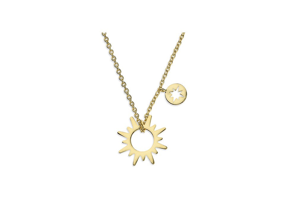 18ct Gold Plated Small Sun Necklace