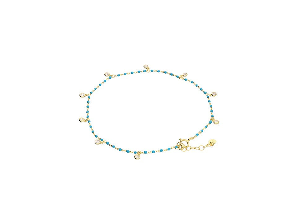 18ct Gold & Turquoise Anklet