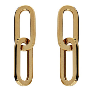 18ct Gold Plated Double chain Link Earrings