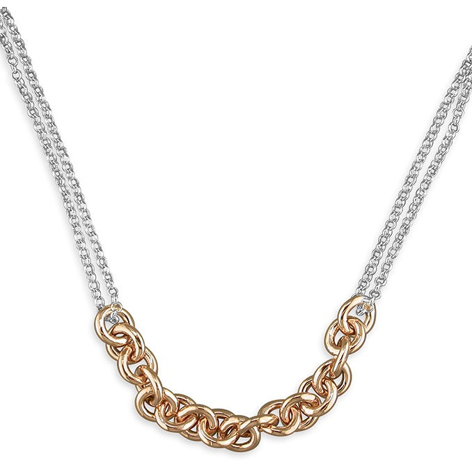 Sterling Silver & 18ct Rose Gold Plated Circle Interlinked Chain