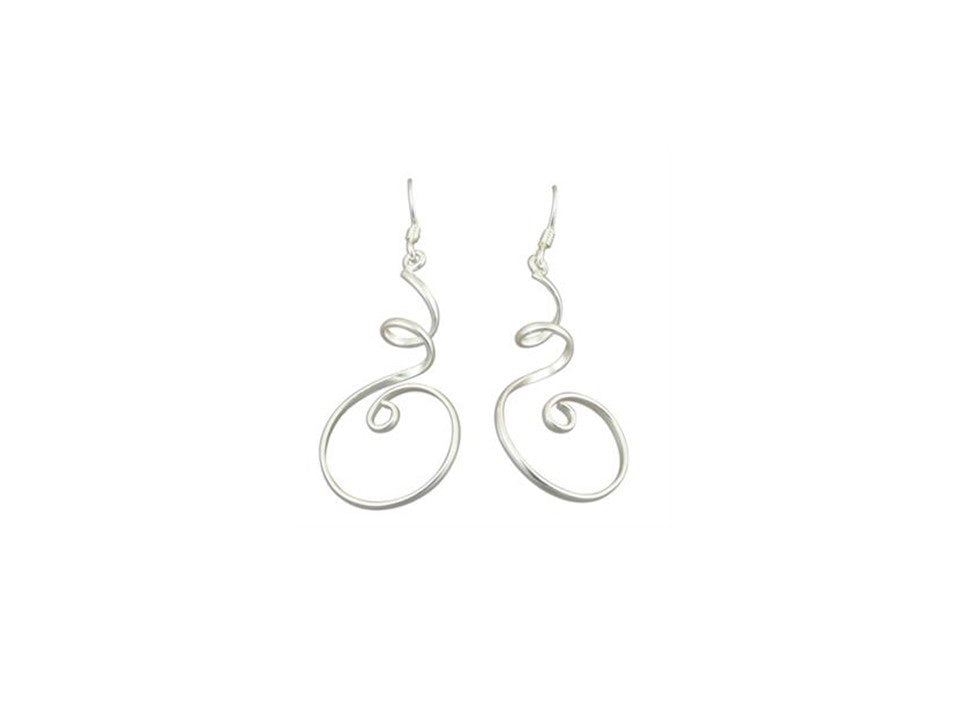 Sterling Silver Spiral Swirl Wire drop Earrings