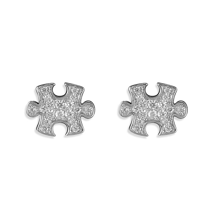 Sterling Silver Diamante Jigsaw Piece Studs