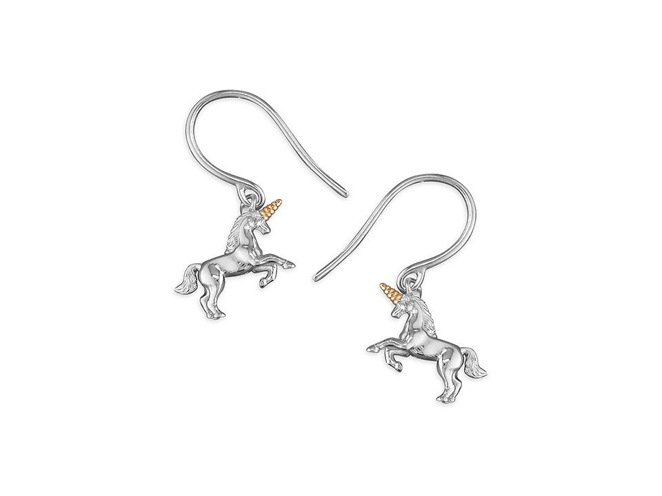 Sterling Silver & 18ct Gold Plated Horned Unicorn Drop Earrings