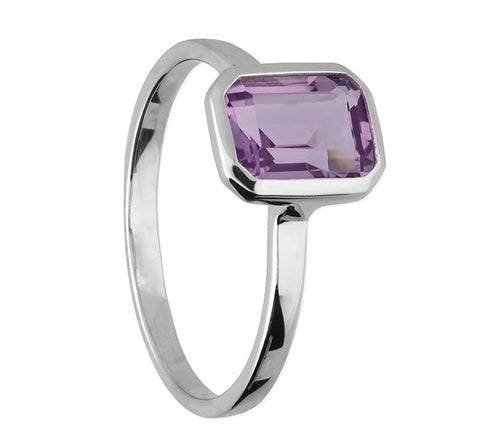 Sterling Silver Amethyst rectangle Ring