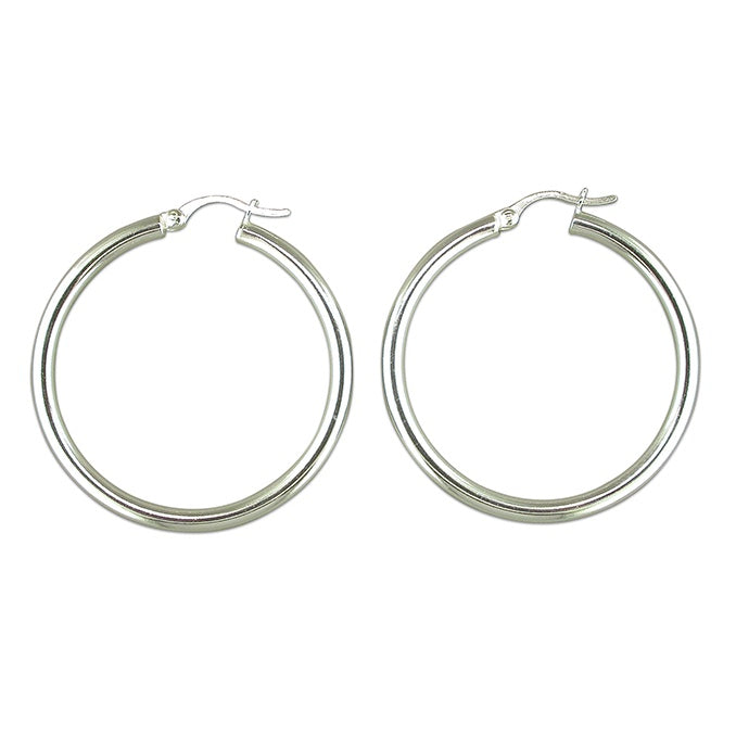 Sterling Silver Large Tube Hoops