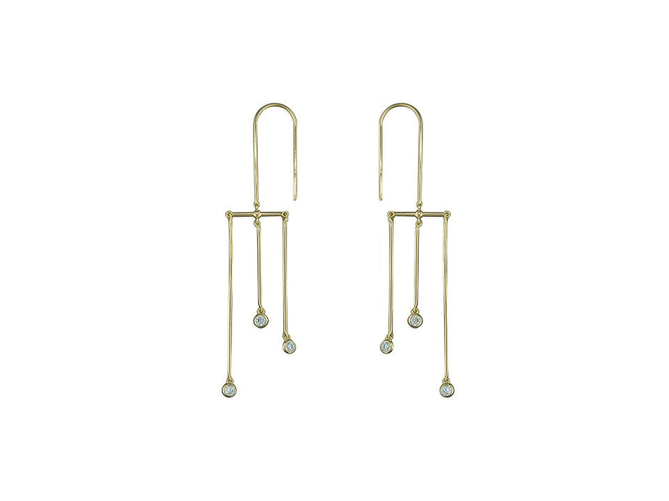 18ct Gold Plated 3 Bar CZ Hook-in Drop Earrings