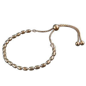 18ct Rose Gold Oval Bead Slider Bracelet
