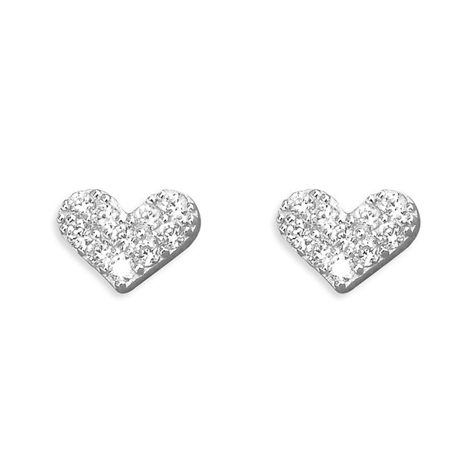 Sterling Silver Flat Abstract Heart Studs