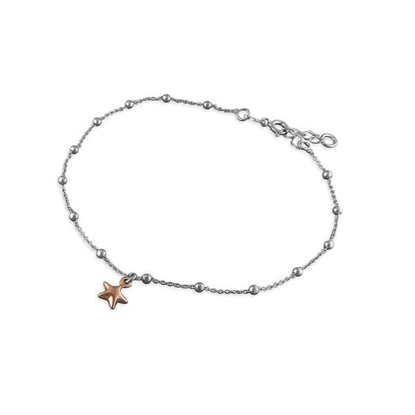 18ct Rose Gold Puffed Star Anklet