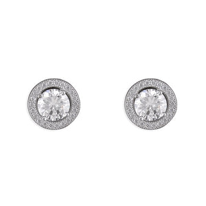 Sterling Silver Large Halo Studs