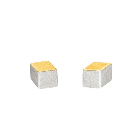 Silver & Gold Cube Studs