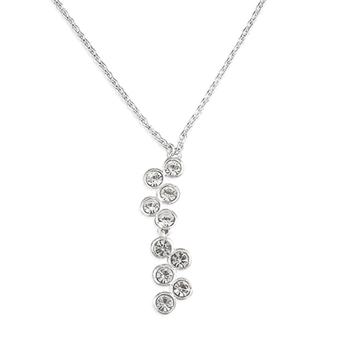 Sterling Silver Crystal Wiggly cascade Necklace