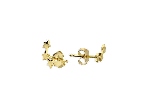 18ct Gold Plated 3 Flat Star Studs
