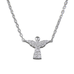 Sterling Silver Diamante Angel Necklace