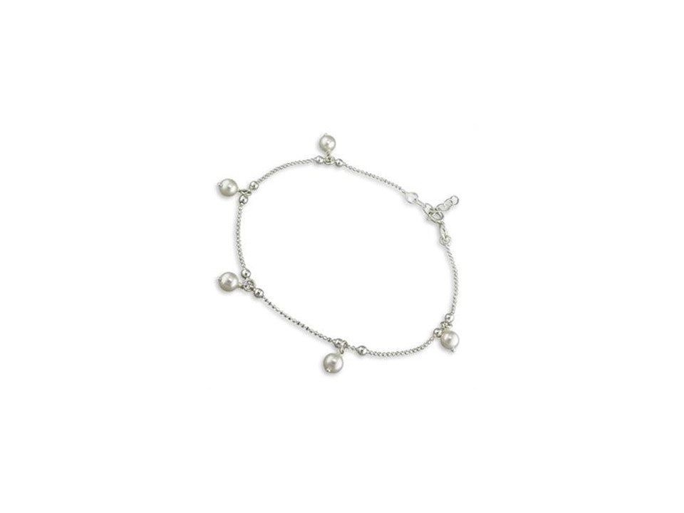 Sterling Silver Pearl Charm Anklet
