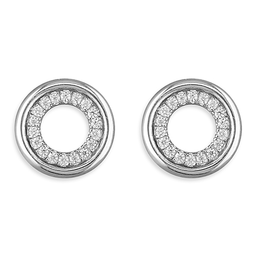 Sterling Silver Plain Cubic Zirconia Outline Circle Stud