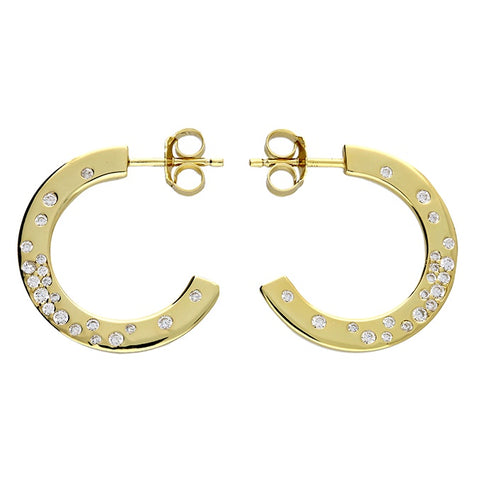 Flat 18ct Gold Plated CZ hoops
