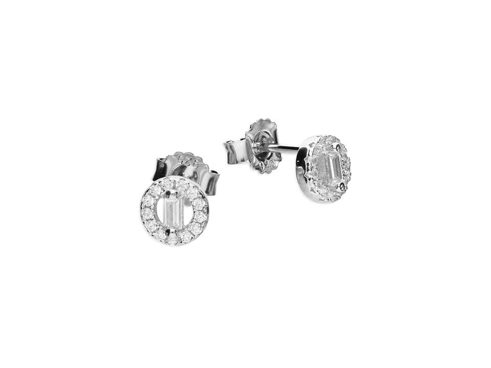 Sterling Silver Halo and Baguette Studs