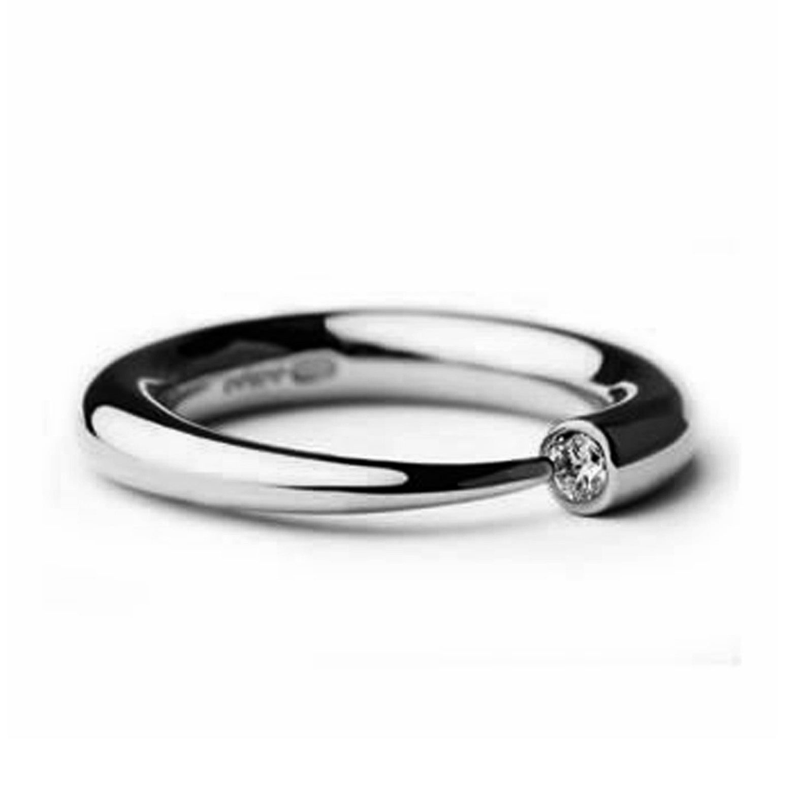Narrow Silver 3pt Diamond Ring