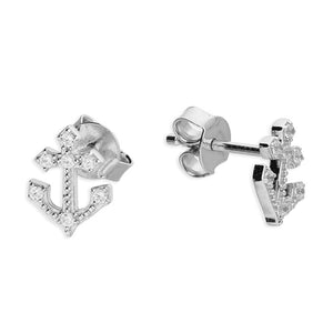 Sterling Silver Small Anchor Studs