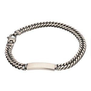 Sterling Silver Oxidised Heavy Double Curb & ID bracelet