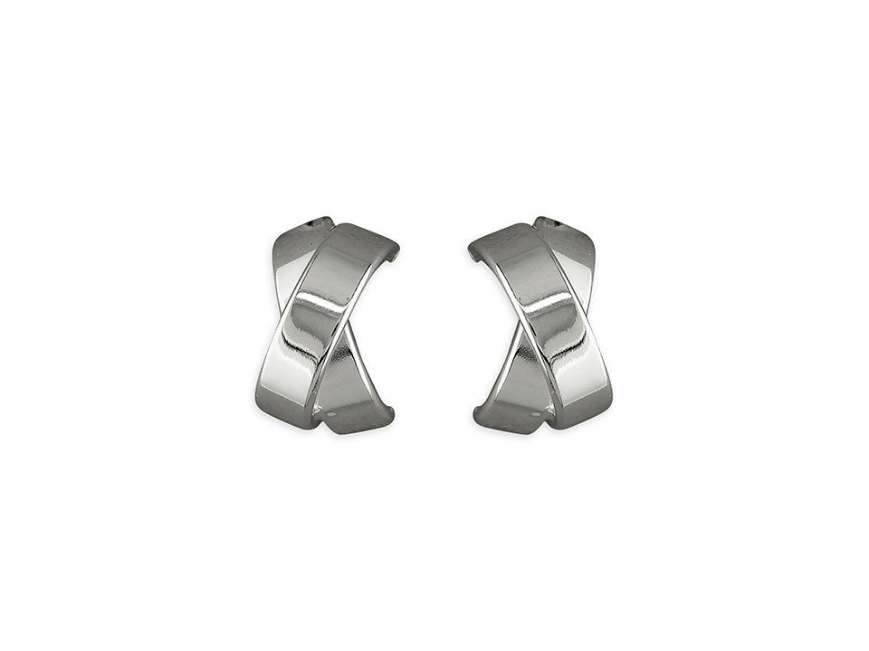 Sterling Silver Medium Flat Crossover Stud Earrings